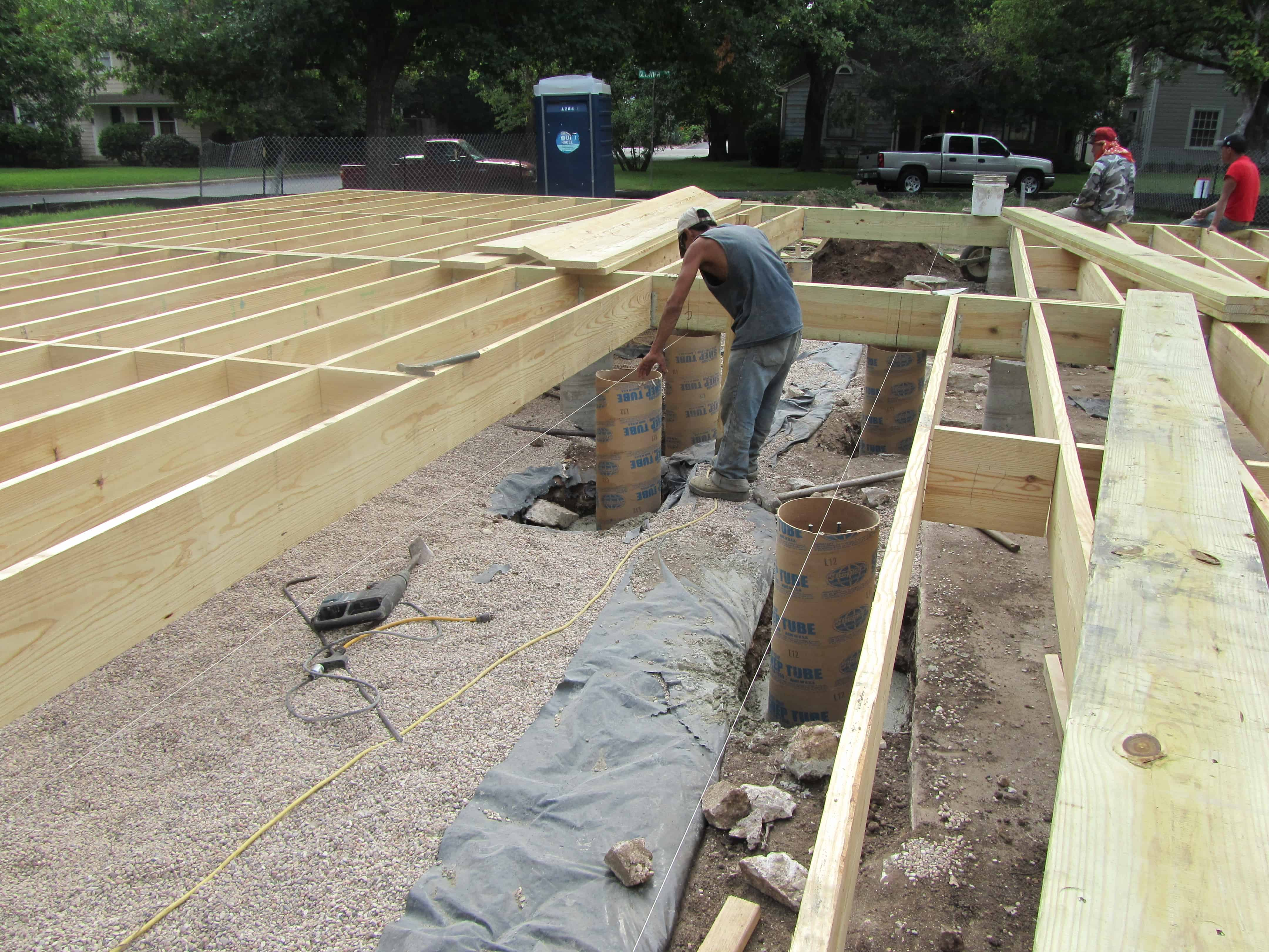 Building a strong foundation the musings of the big red car for Cabin foundation piers