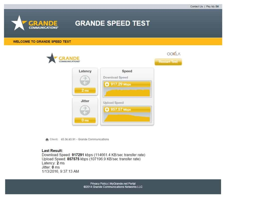 Grande Speed Test pic internet speed